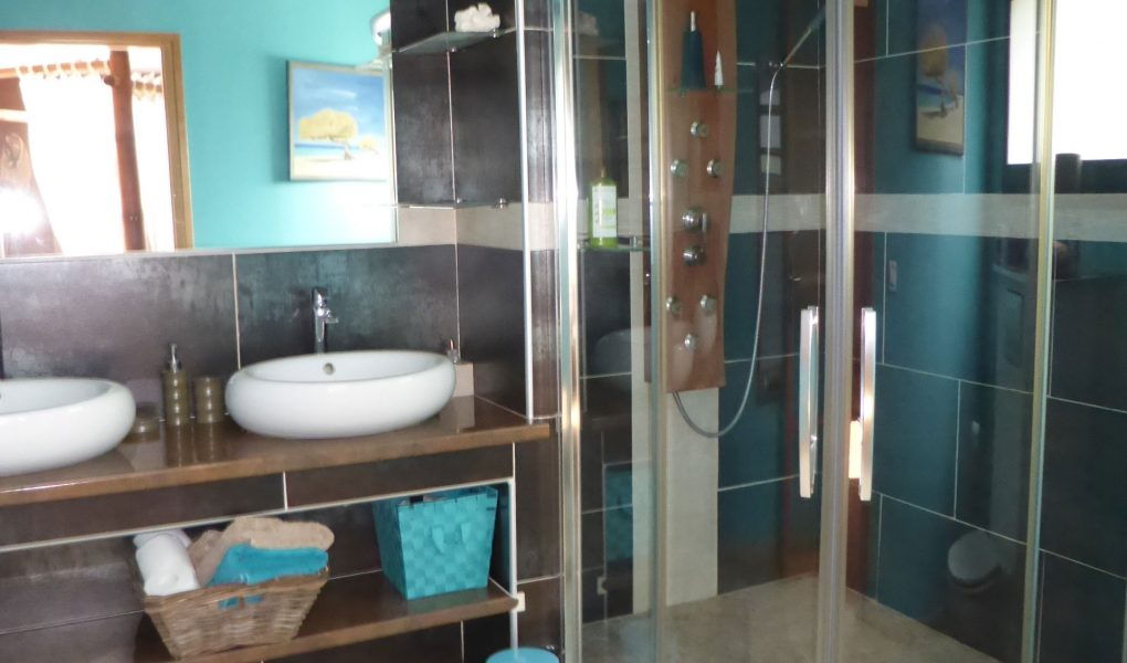 Photo d'une salle de bain design, avec une douche